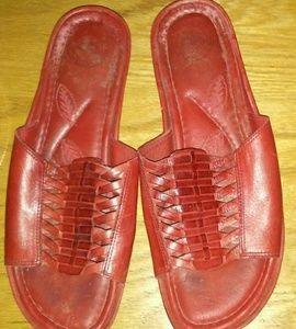 Nurture Red Leather Woven Slides SZ 7.5